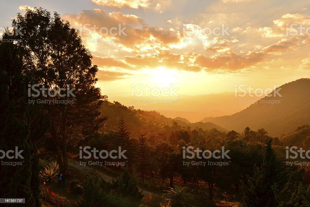 Mountain Landscape at Sunset royalty-free stock photo