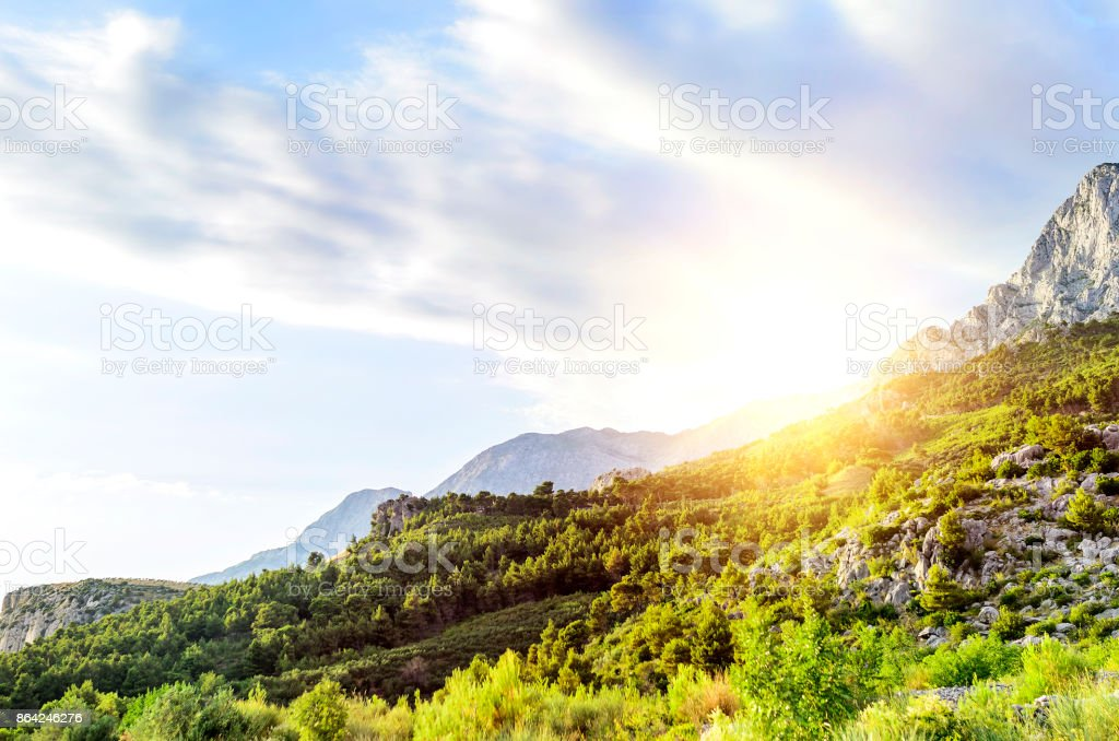 Mountain landscape at sunset. royalty-free stock photo