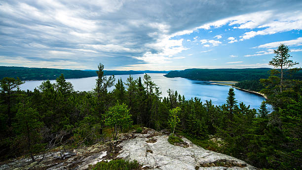 mountain, landscape, canada, quebec, lake, sky, nature, fjord - fjord stock photos and pictures