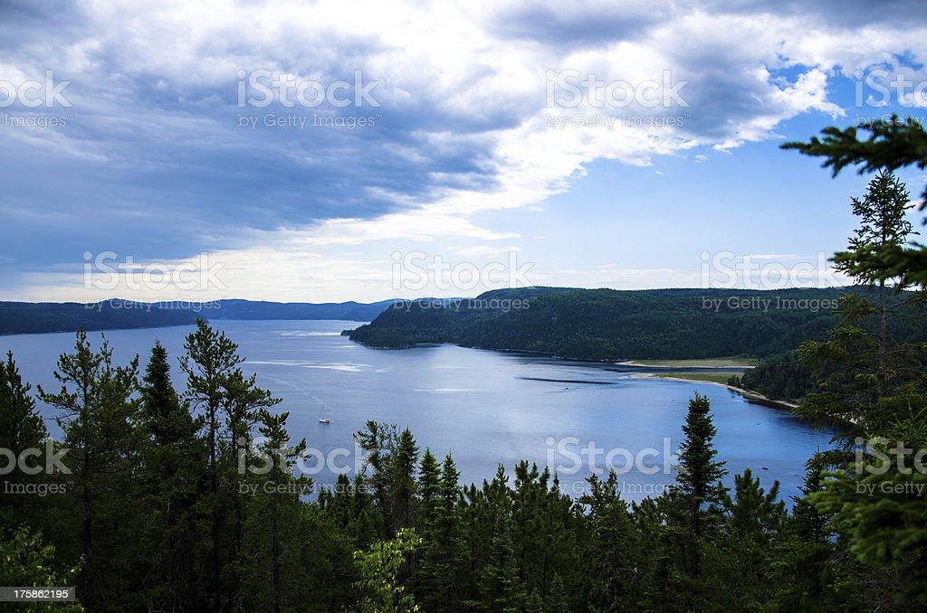 Mountain, Landscape, Canada, Quebec, Lake, Sky, Nature, Fjord stock photo