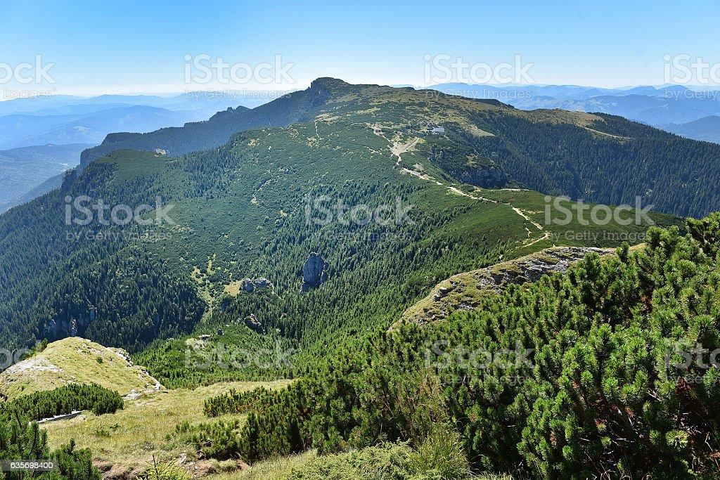 Mountain landscape. Ceahlau mountains, Eastern Carpathians royalty-free stock photo