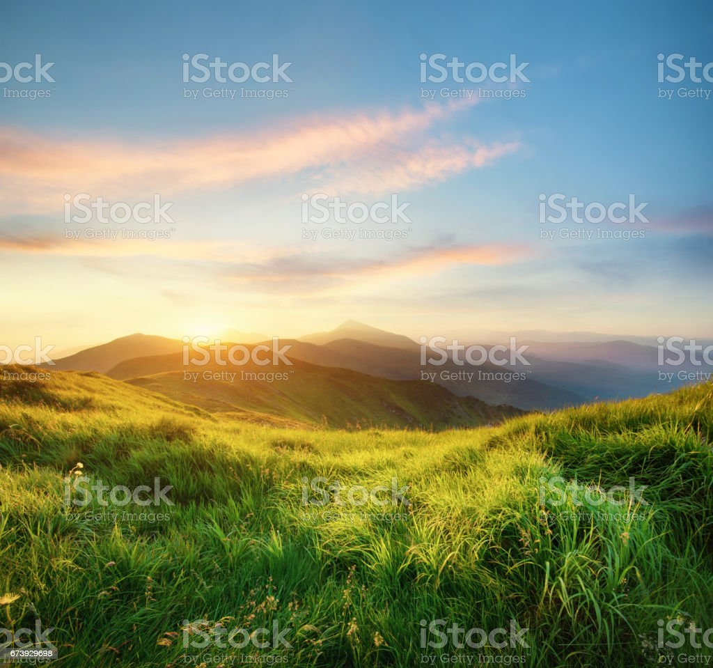 Mountain landscape during sunrise. Natural landscape in the summer time stock photo