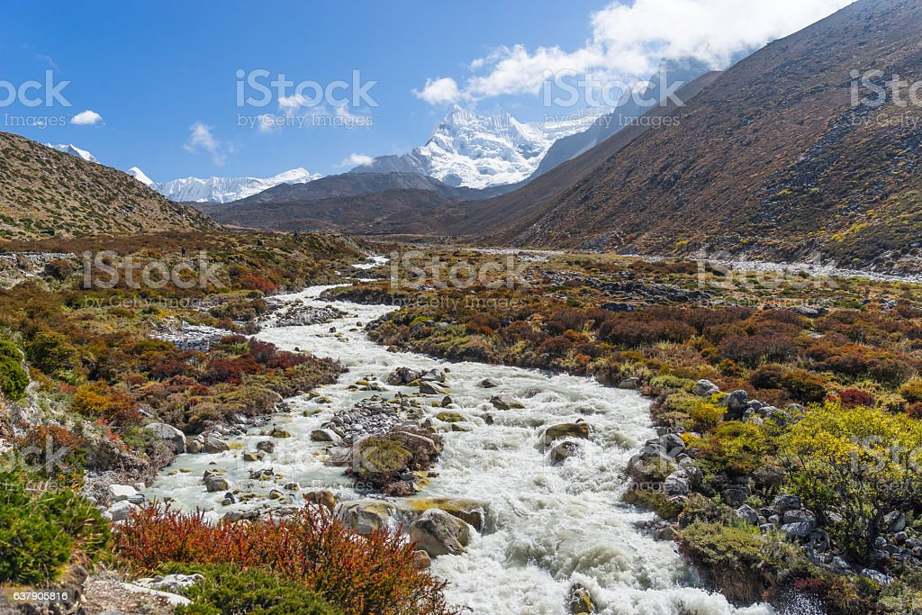 Mountain landscape from Dingboche to Chukung village, Everest re stock photo