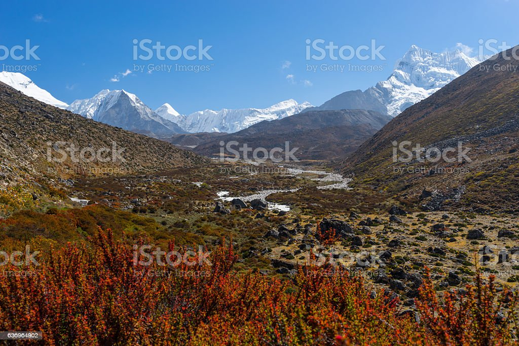 Mountain landscape from Dingboche to Chukung village, Everest region, Nepal stock photo