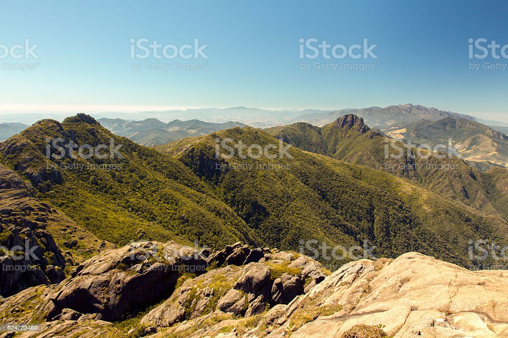 Mountain landscape from mountain summit stock photo