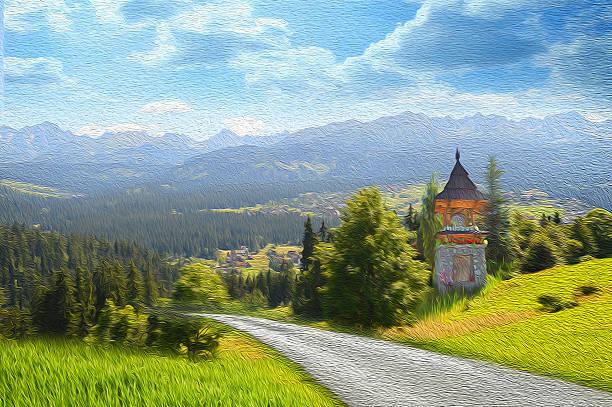 Mountain Landscape. Illustration of a stylized impressionist painting stock photo