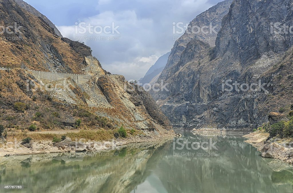Mountain landscape in China (Tiger leaping gorge) stock photo