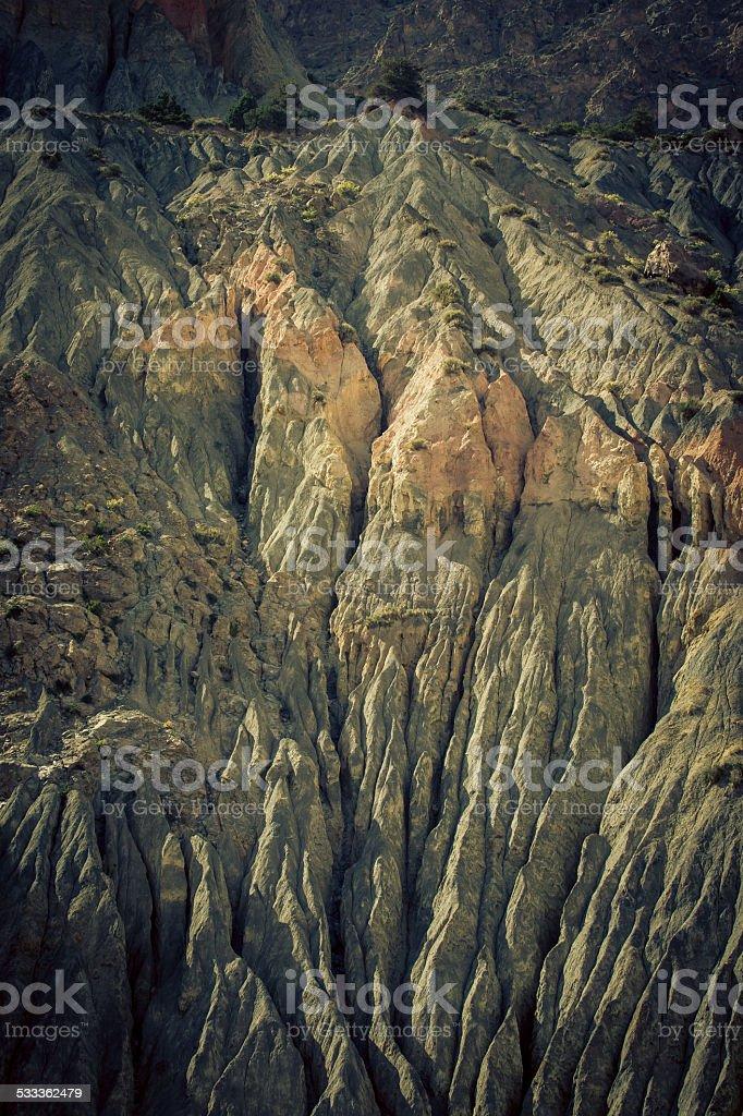 Mountain landscape in fann mountains, Tajikistan. weathered rock stock photo