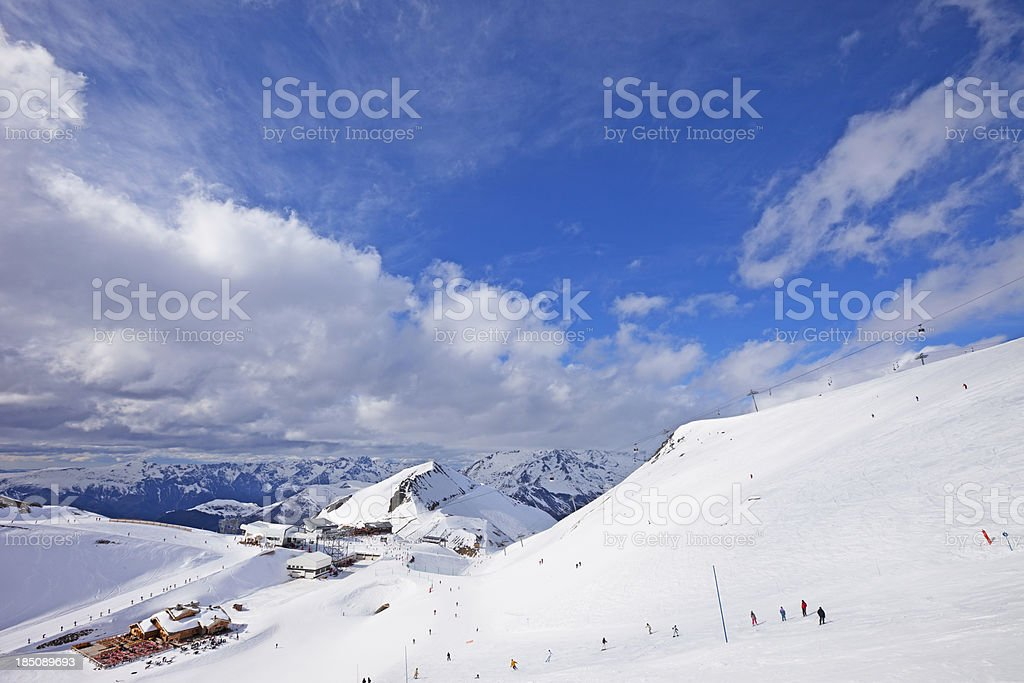 Mountain landscape in France ski resort  Les Deux Alpes stock photo