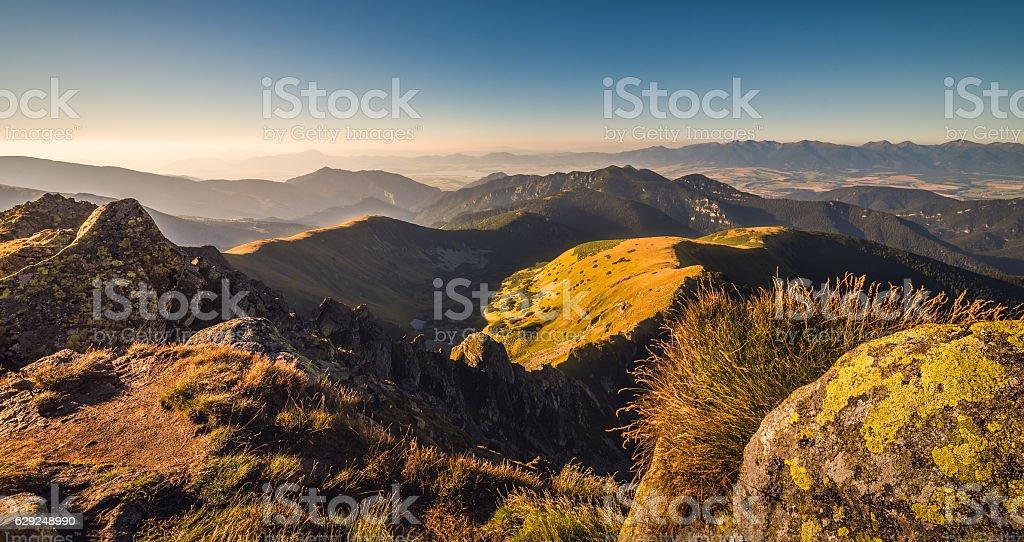 Mountain Landscape in Golden Light stock photo