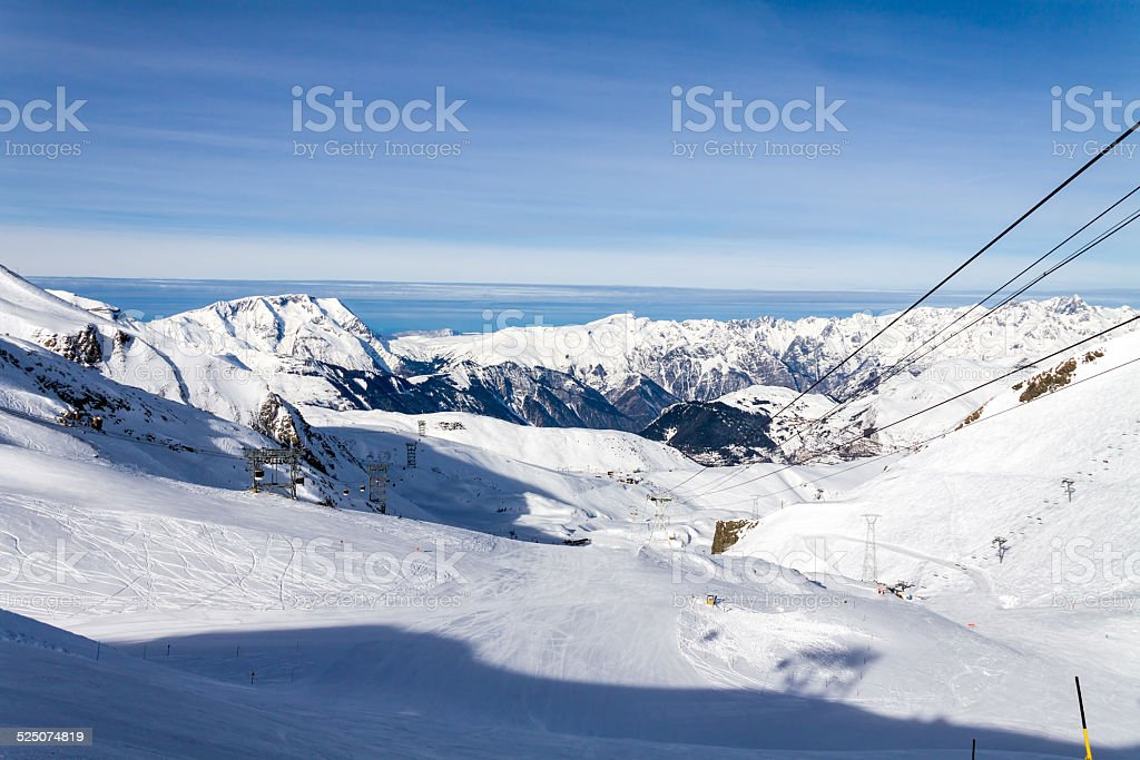 Mountain landscape in Les Deux Alpes, French Alps stock photo