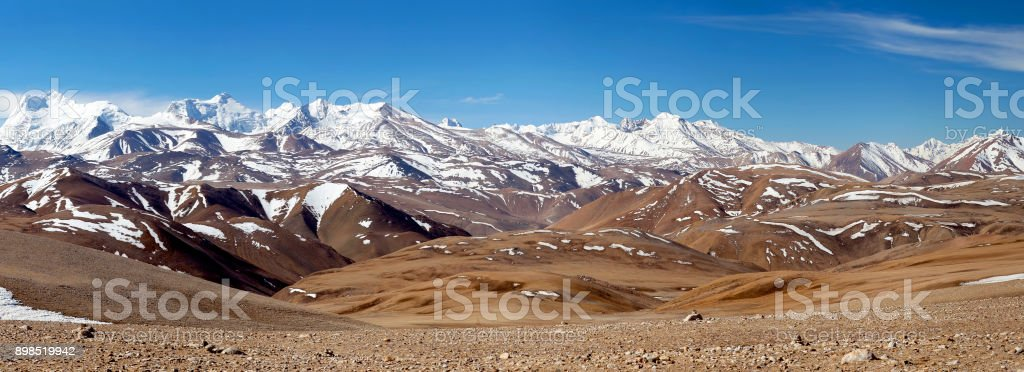 Mountain landscape in Ngari Prefecture, Tibet stock photo