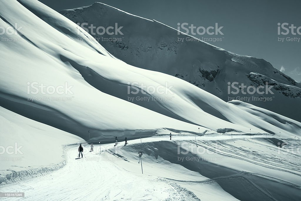 Mountain landscape in St. Anton, Austria ski resort royalty-free stock photo