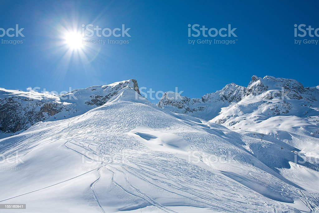 Mountain landscape in St. Anton, Austria ski resort royalty-free stock photo