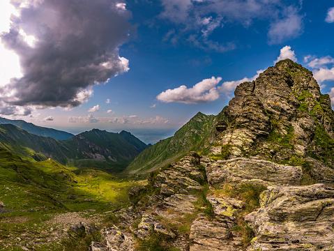 Mountain landscape in summer wonderful nature scenery Balea Lac Transfagarasan Romania.