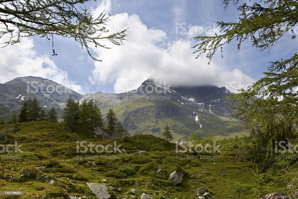 Mountain landscape in the alps stock photo