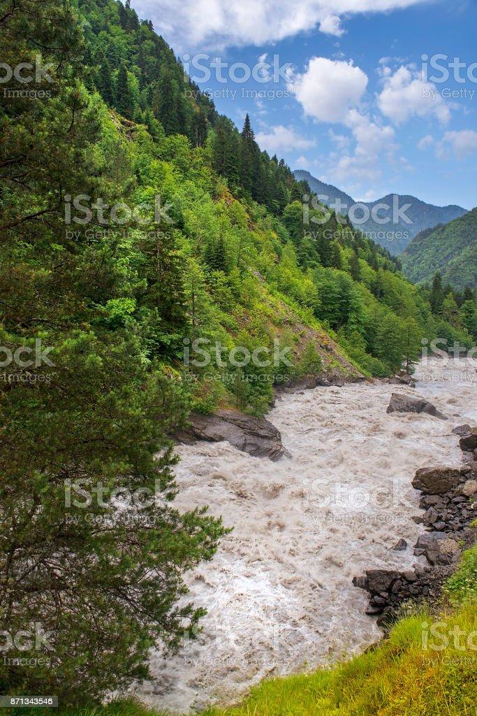 mountain landscape in the Caucasus Mountains in Upper Svaneti, Georgia stock photo