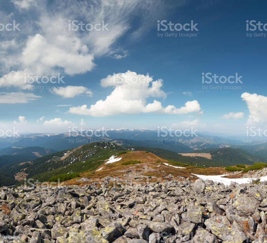 Mountain landscape in the day time. Beautiful natural l landscape in the summer time royalty-free stock photo