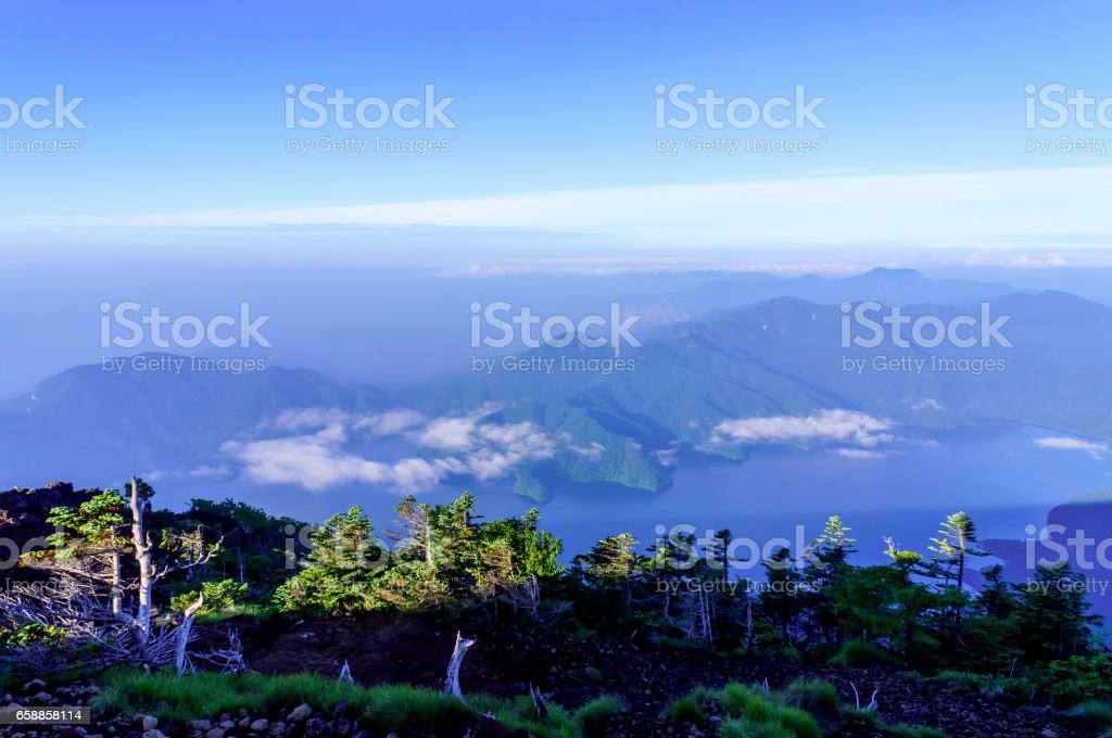 Mountain landscape in the early morning stock photo