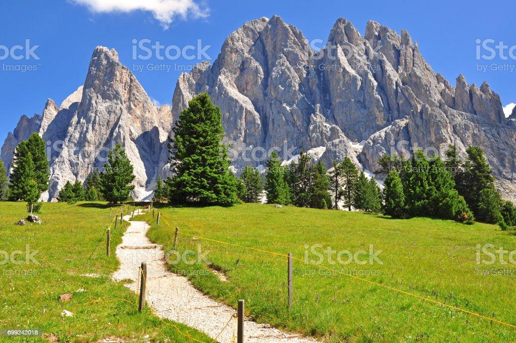 Mountain landscape in Trentino Alto, Dolomites, Italy stock photo