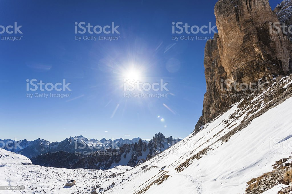 Mountain Landscape in Winter , The Dolomites, Italy royalty-free stock photo