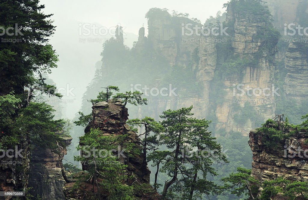Mountain landscape in Wulingyuan National Park, Hunan province of China stock photo