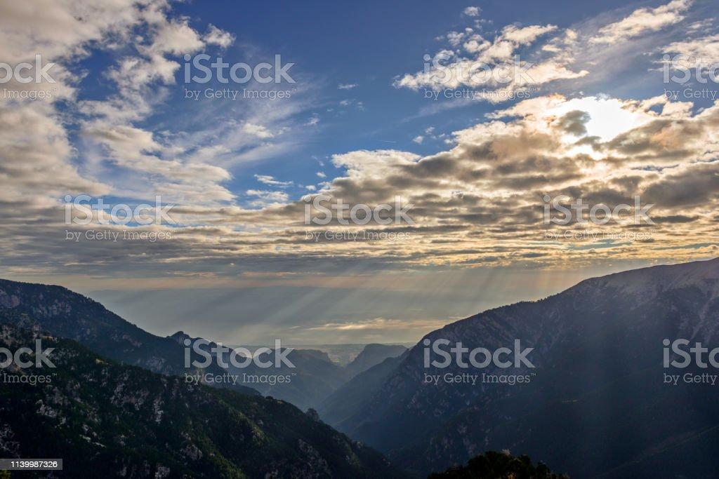Mountain landscape near Olympus, Greece stock photo