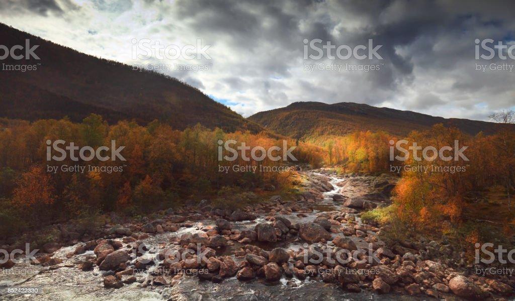 Mountain landscape of Norway. Skandinavia. stock photo