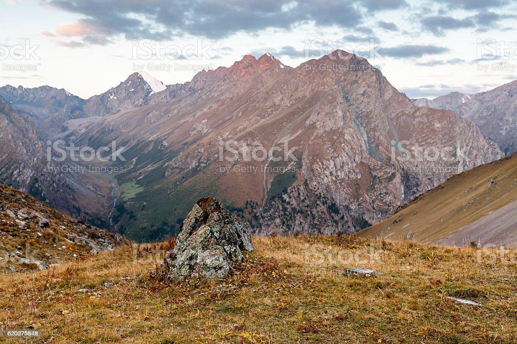 Mountain landscape of Tien Shan. zbiór zdjęć royalty-free