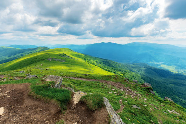 mountain landscape on cloudy summer noon stock photo