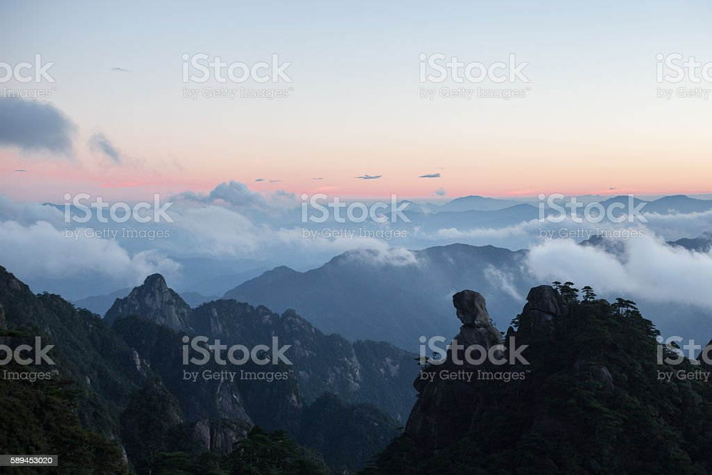 Mountain landscape on san qing shan in China stock photo