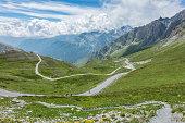 Mountain landscape on the Italian side (Val Varaita) of Col Agnel (Colle delle dell'Agnello), Italy