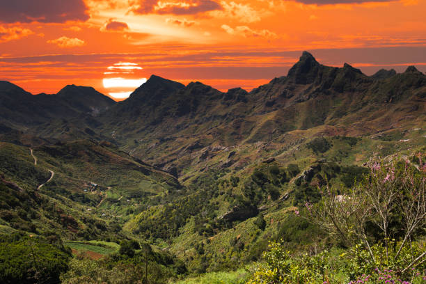 Mountain landscape on tropical island Tenerife, Canary in Spain.
