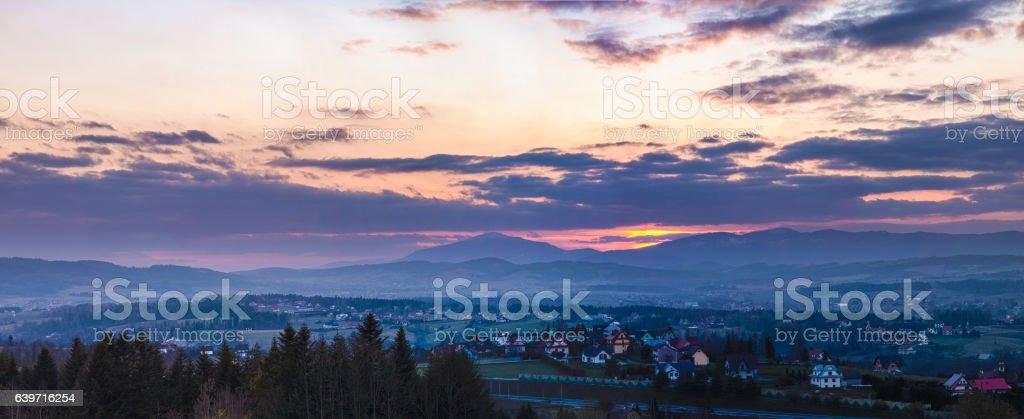 Mountain landscape panorama stock photo