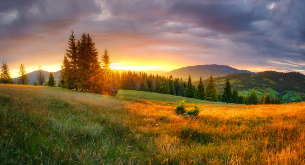 Mountain landscape Autumn sunrise. Mountain landscape. Fall morning with vivid sky over beautiful valley. Tranquil background. horizontal stock pictures, royalty-free photos & images