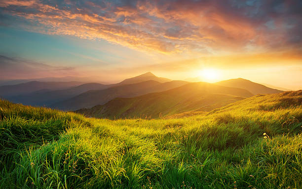 Mountain landscape Mountain valley during sunrise. Natural summer landscape atmospheric mood stock pictures, royalty-free photos & images