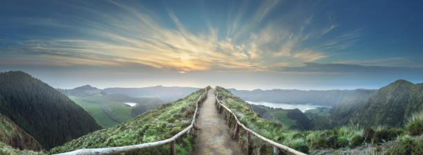 山風景 ponta delgada 海島, 亞速爾 - 小徑 個照片及圖片檔