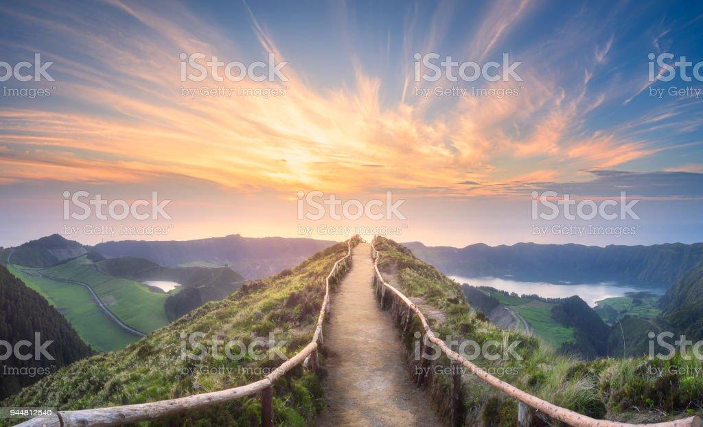Mountain landscape Ponta Delgada island, Azores stock photo