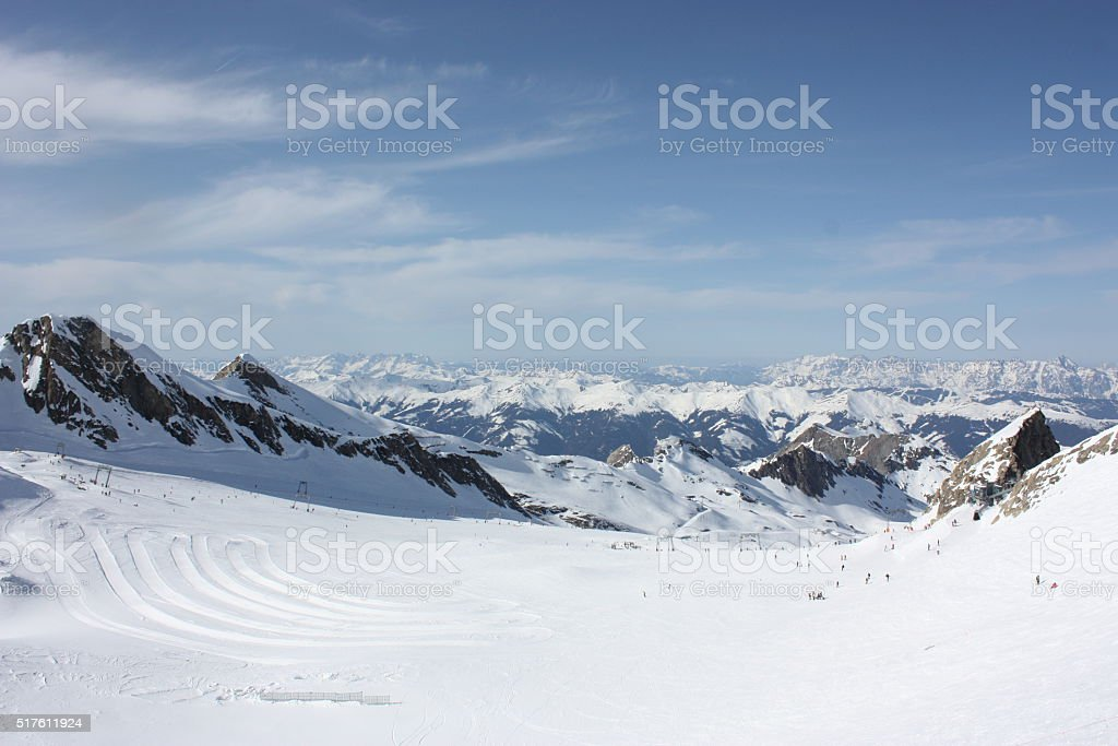 Mountain landscape. Skiing resort in Apls, Kaprun, Austria. stock photo