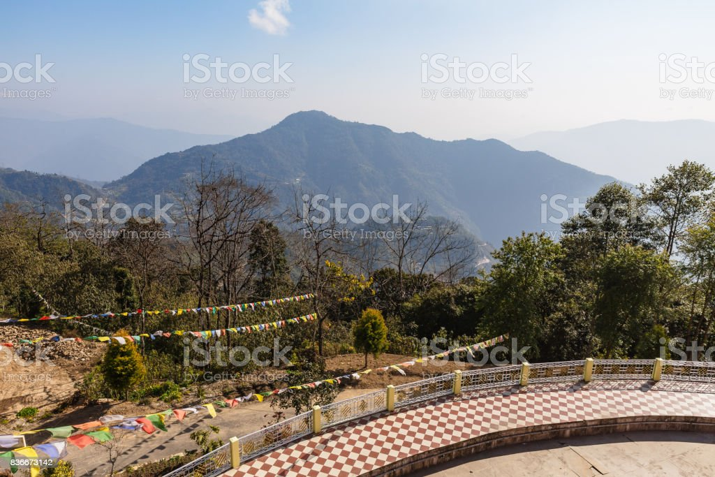 Mountain landscape that view from the top of Guru Rinpoche Temple at Namchi. Sikkim, India. stock photo