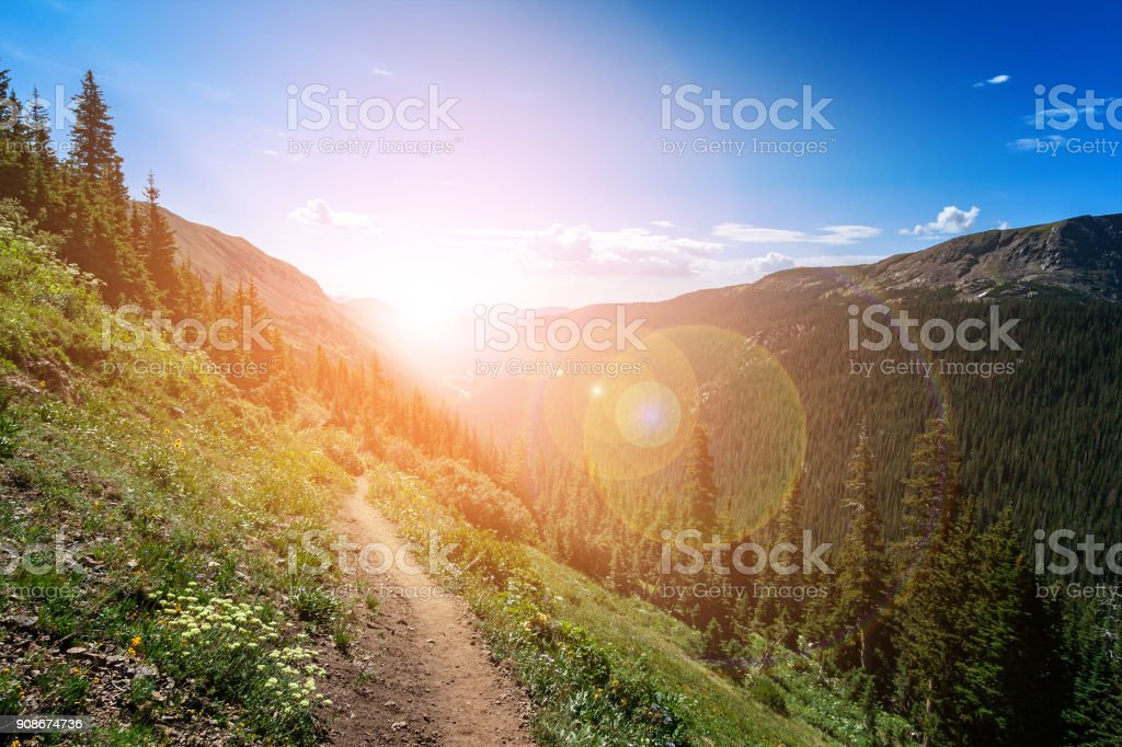 Mountain Landscape Trail into the Sunset royalty-free stock photo