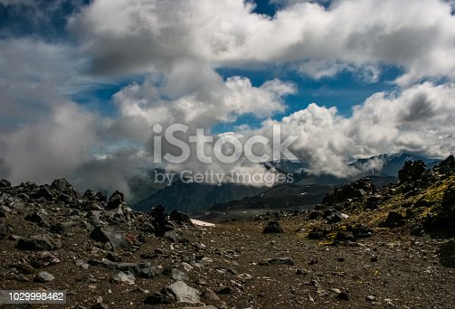 istock Mountain landscape with a stony scattering. Mountain landscape. 1029998462