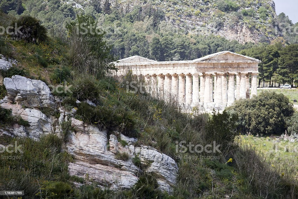 mountain landscape with ancient Greek temple stock photo