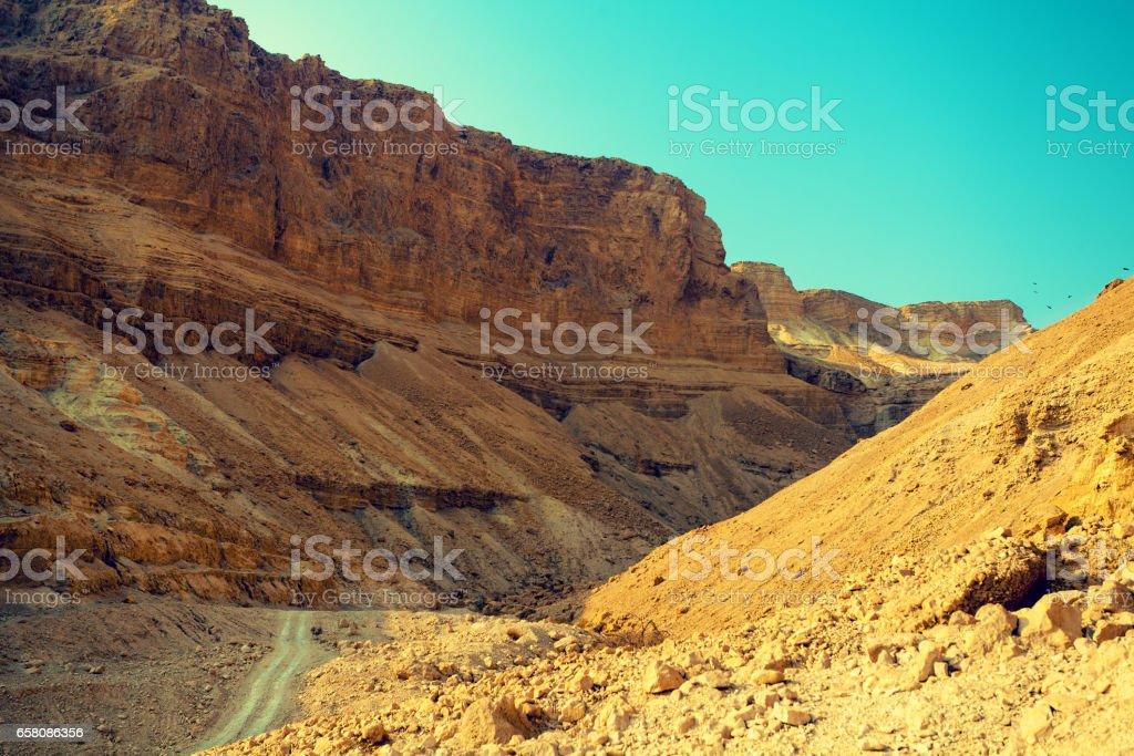 Mountain landscape with blue sky. Judaean Desert, Masada, Israel royalty-free stock photo