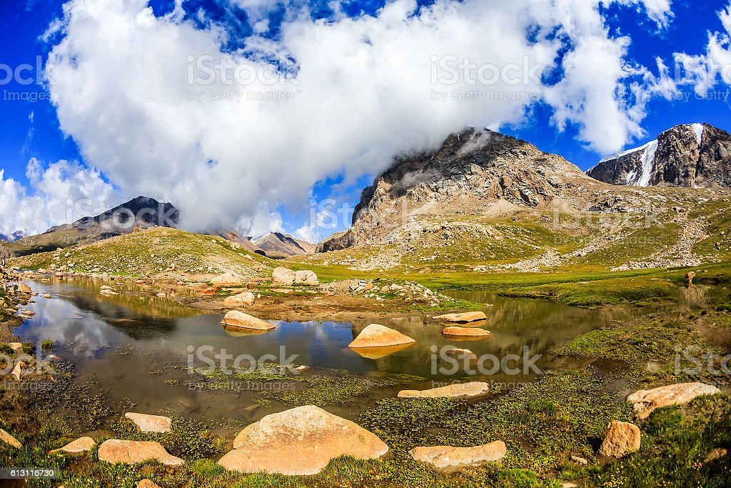 Mountain landscape with clouds and a lake stock photo