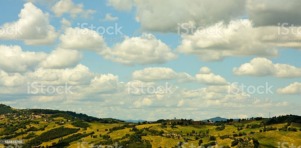 Mountain landscape with clouds in blue sky royalty-free stock photo