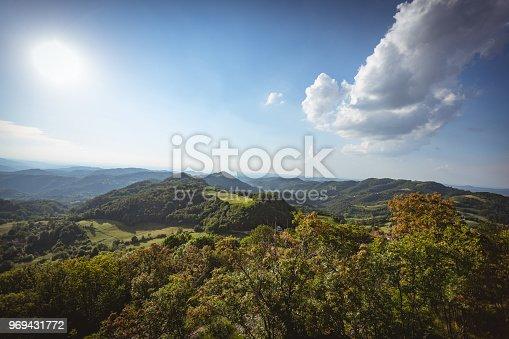 Summer mountain landscape with cloudscape