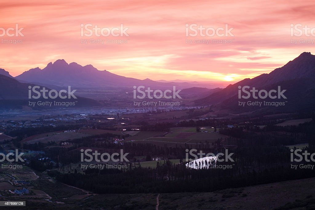 mountain landscape with colourful clouds at sunset, south africa stock photo