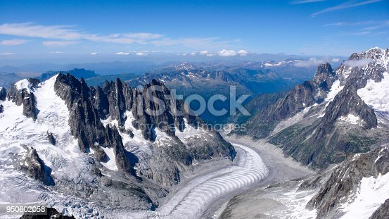 mountain landscape with high peaks and glacier in the French Alps near Chamonix