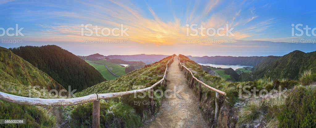 Mountain landscape with hiking trail, Ponta Delgada, Island, Azores, Portugal stock photo